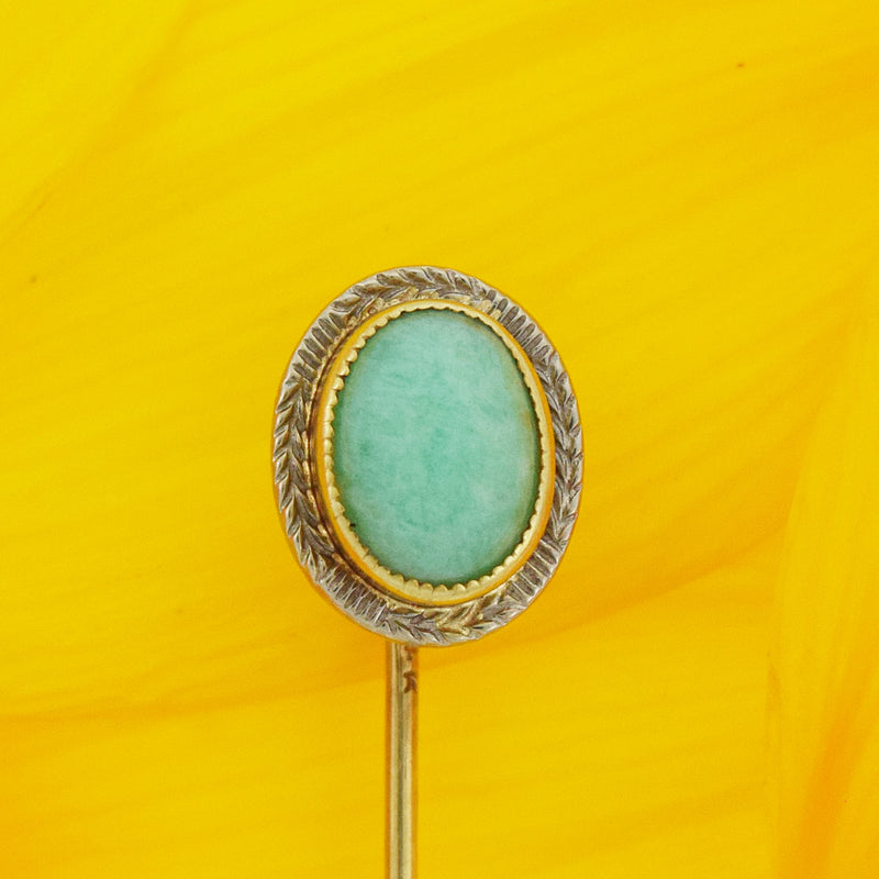 14k Yellow & White Gold Antique Oval Turquoise Stick Pin