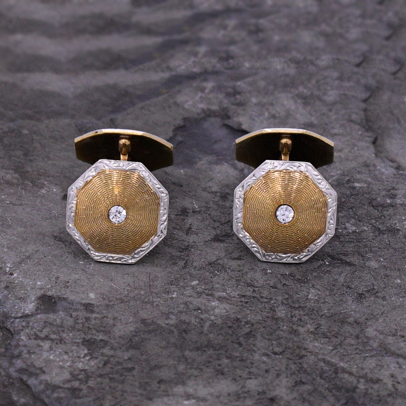 14k Yellow & White Gold Antique Diamond Cufflinks