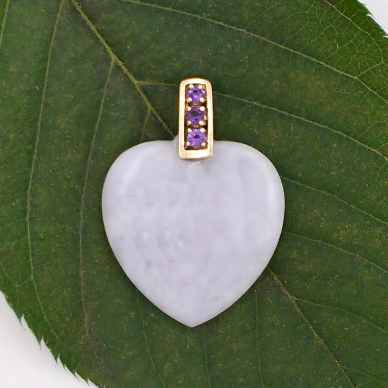 14k Yellow Gold Estate Marble Heart Amethyst Pendant