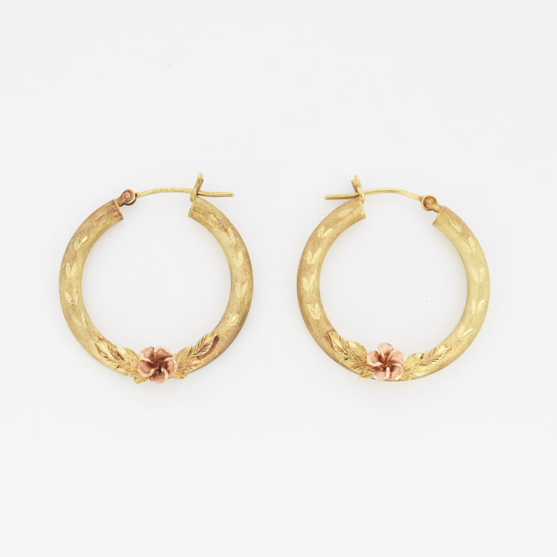 14k Yellow & Rose Gold Diamond Cut Flower Hoop Earrings