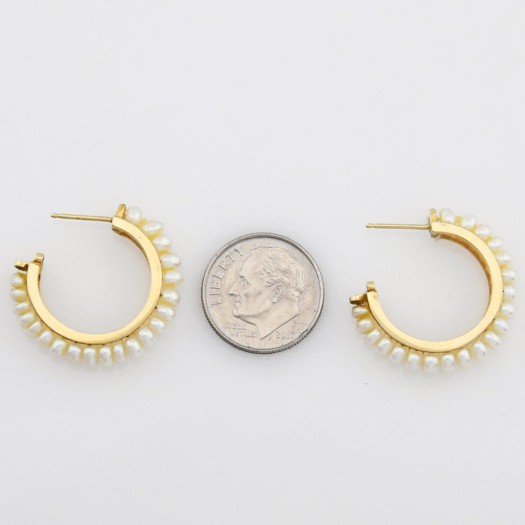 14k Yellow Gold Estate 1/2/Half Hoops/Hoop Pearl Post Earrings