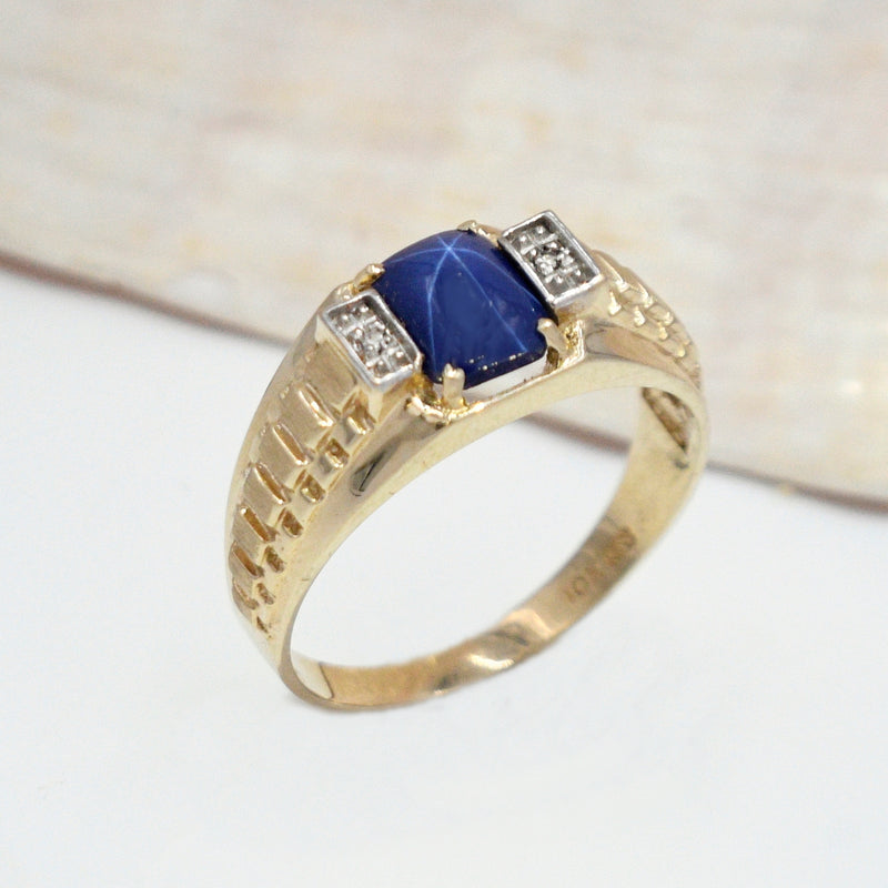 10k Yellow Gold Textured Star Sapphire & Diamond Ring Size 12.25