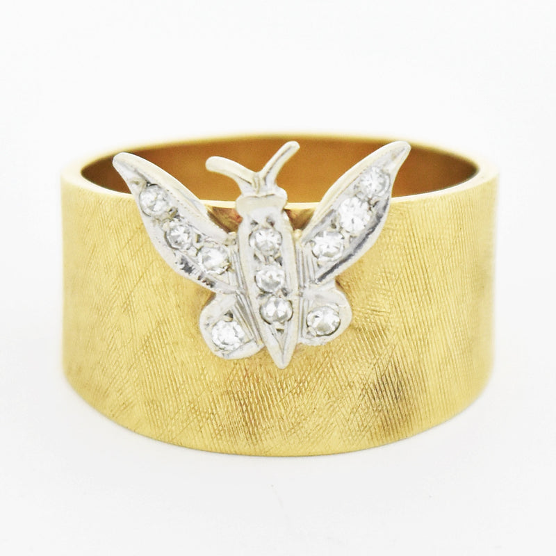 14k Yellow Gold Estate Wide Textured Diamond Butterfly Ring Size 8.5