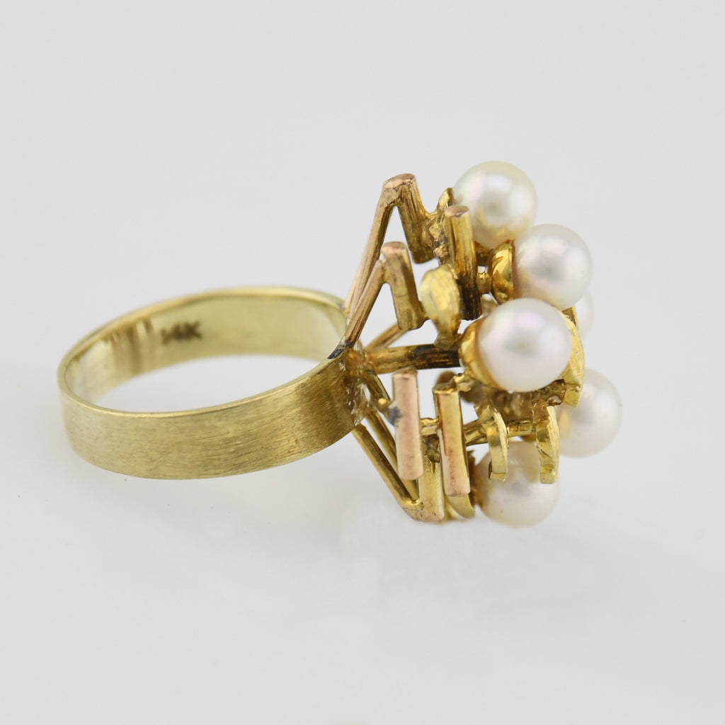 14k Yellow Gold Mid Century Modern Open Pearl Cocktail Ring Size 6