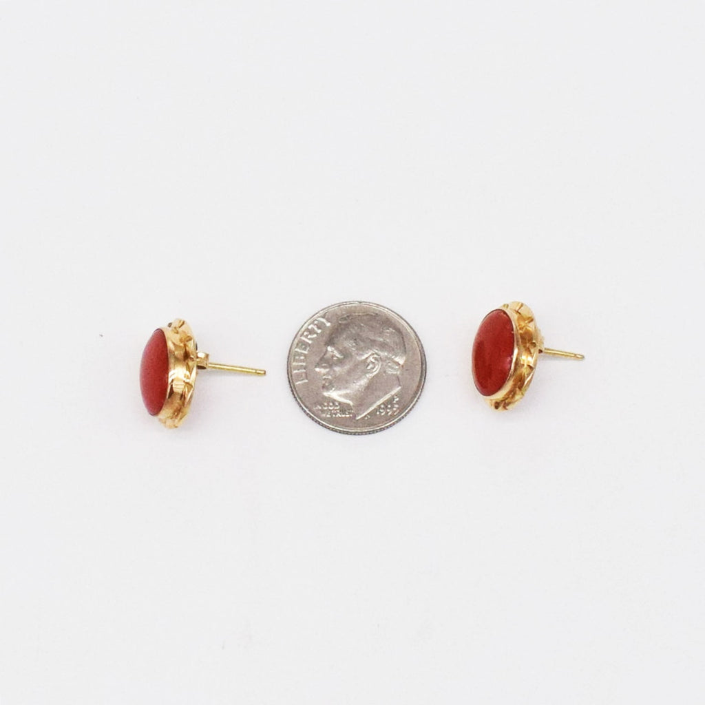 18k YG Oval Carnelian Post Earrings