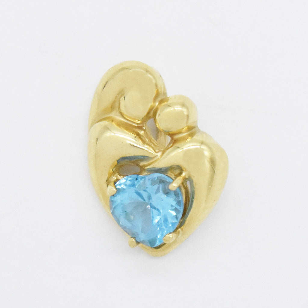 14k Yellow Gold Estate Heart Shape Blue Topaz Mother & Child Pendant