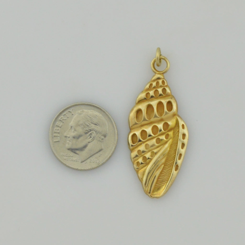 10k Yellow Gold Conch Shell Marco Island Florida Vacation Keepsake Pendant