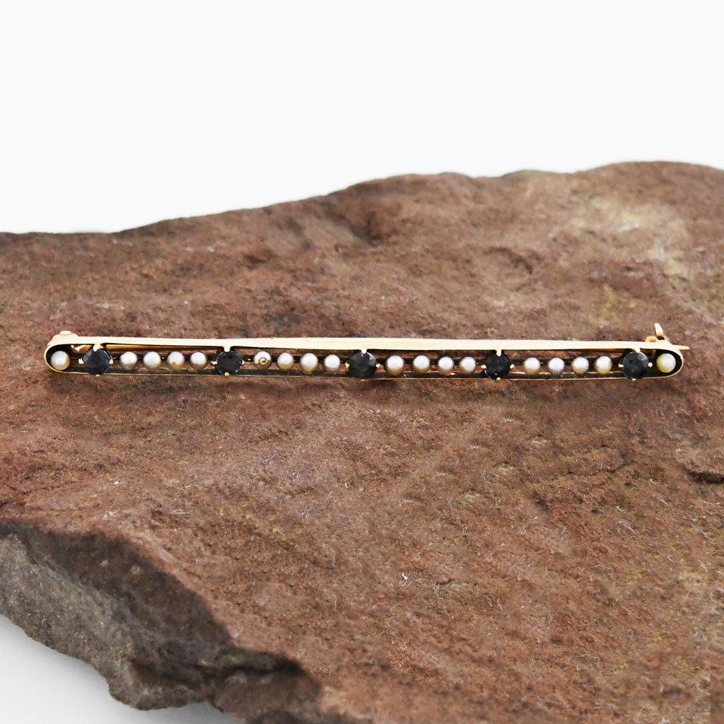 14k Yellow Gold Antique Sapphire & Pearl Bar Pin