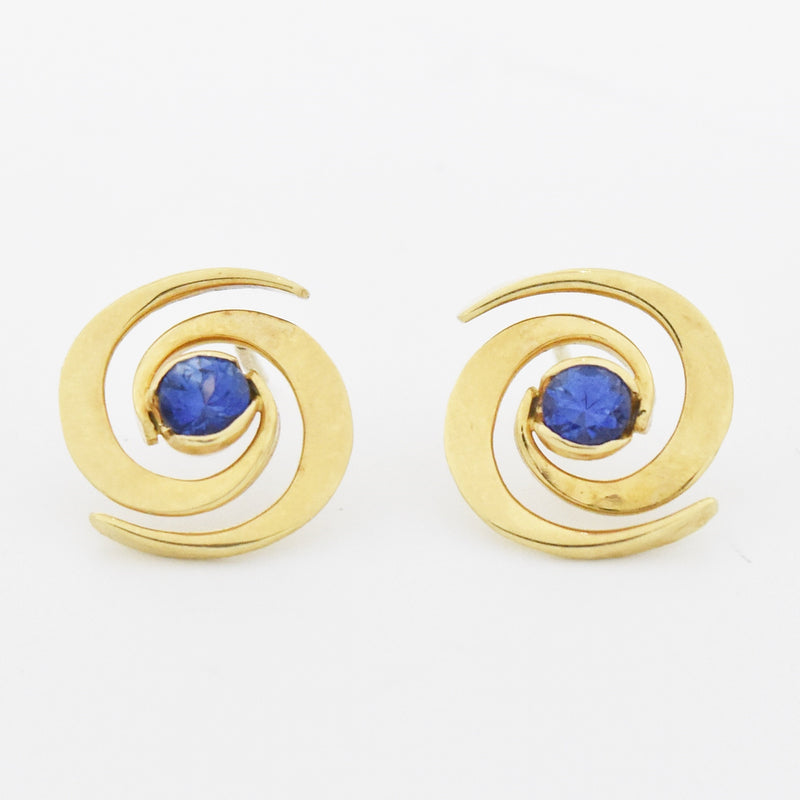 14k Yellow Gold Estate Open Swirl Sapphire Post Earrings