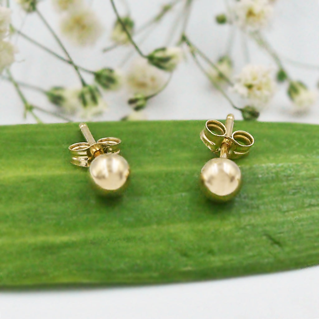 14k Yellow Gold Estate Ball Post Earrings