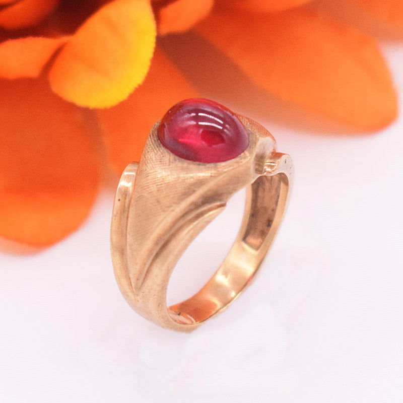 10k YG Textured Cabochon Ruby Ring Size 6