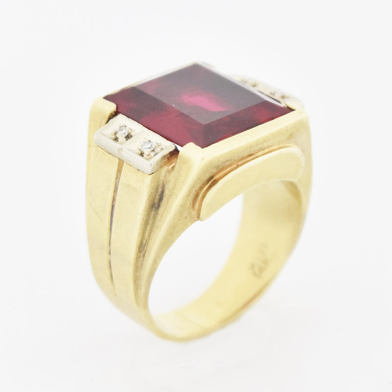 10k Yellow Gold Antique Ruby & Diamond Ring Size 8.25