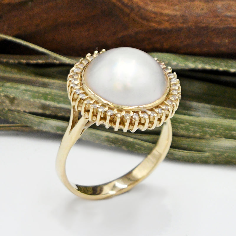 14k Yellow Gold Estate Mabe Pearl Statement Ring Size 11
