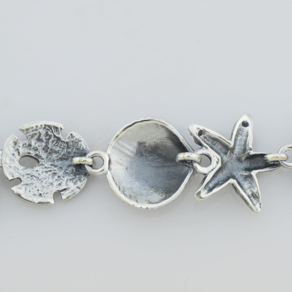 "NEW Sterling Silver 925 Seashell Sand Dollar & StarFish Bracelet 7.75"" Long 20g"