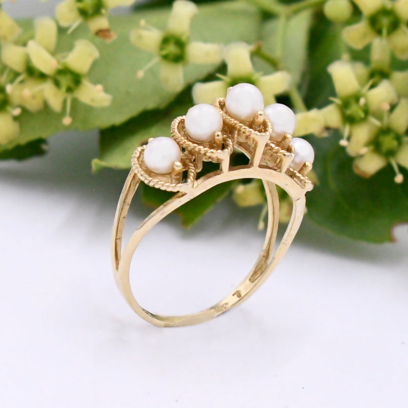 10k Yellow Gold Estate Open Work 5 Pearl 3.4 mm Pyramid Ring Size 7
