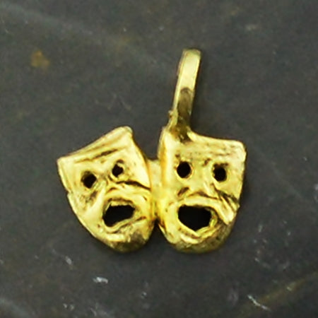 14k Yellow Gold Estate Double Face Theater/Drama Mask Charm/Pendant