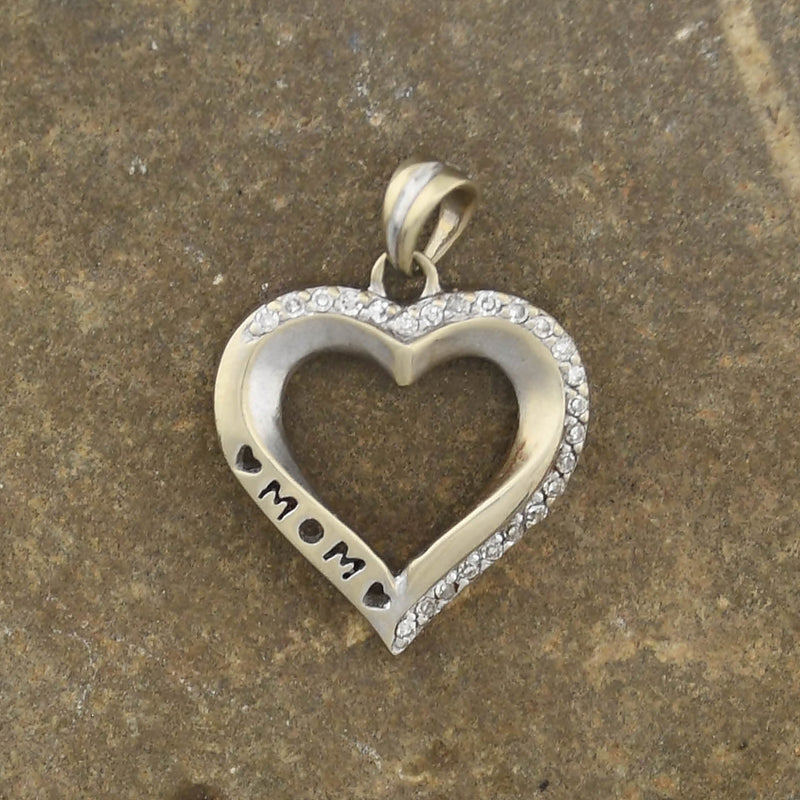 10k White Gold Estate Diamond Open Heart Mom Pendant