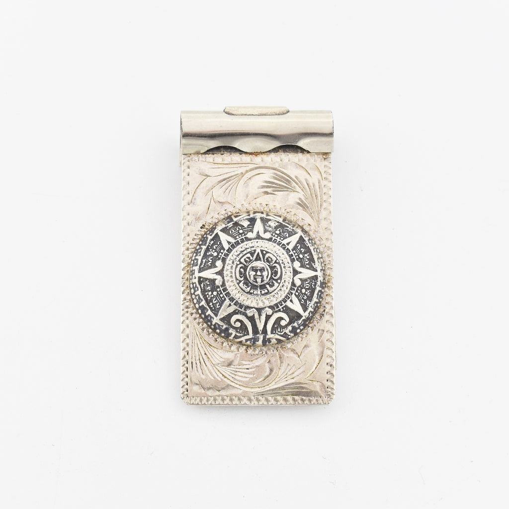 Sterling Silver 925 Estate Carved Mexican Aztec Calender Money Clip