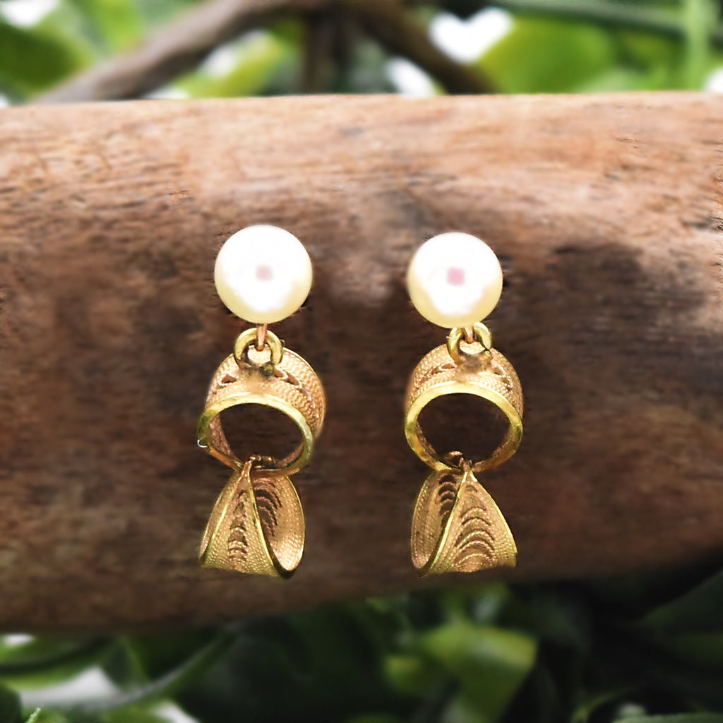 14k Yellow Gold Vintage Pearl Filigree Double Circle Post Earrings