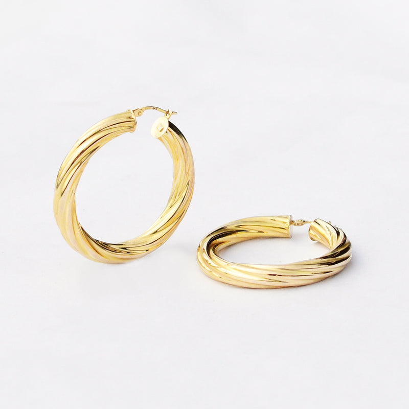 "14k Yellow Gold Estate 1 3/4"" Round Swirl/Twisted Hoops/Hoop Earrings"