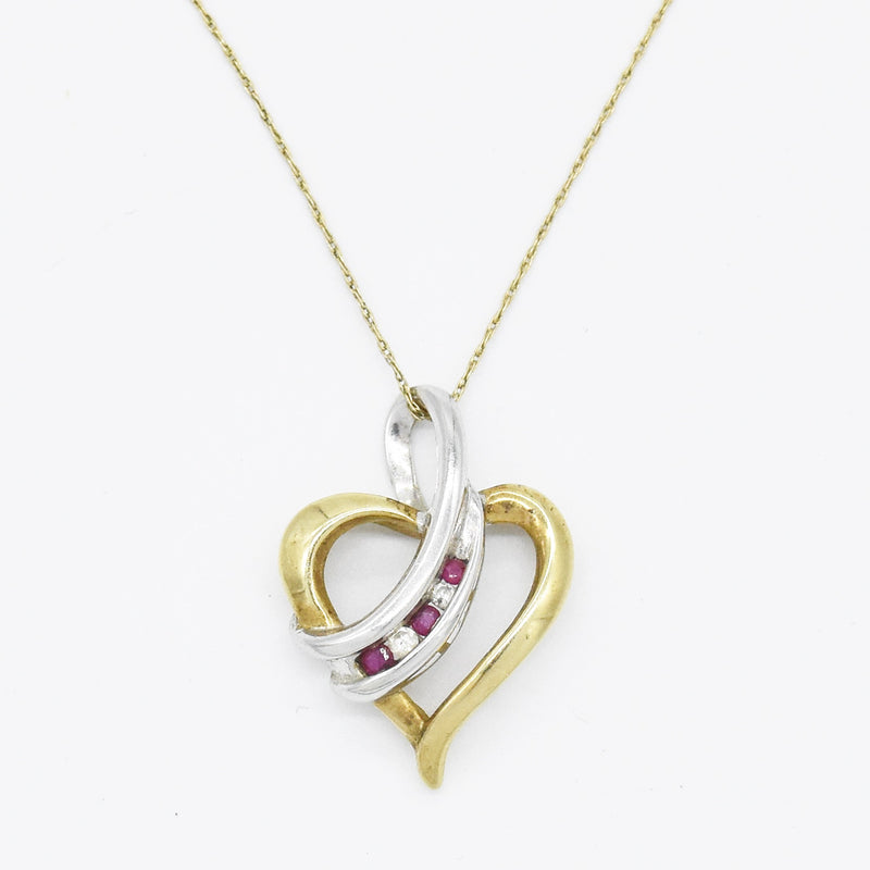 "10k Yellow & White Gold 19"" Diamond & Ruby Open Heart Necklace"