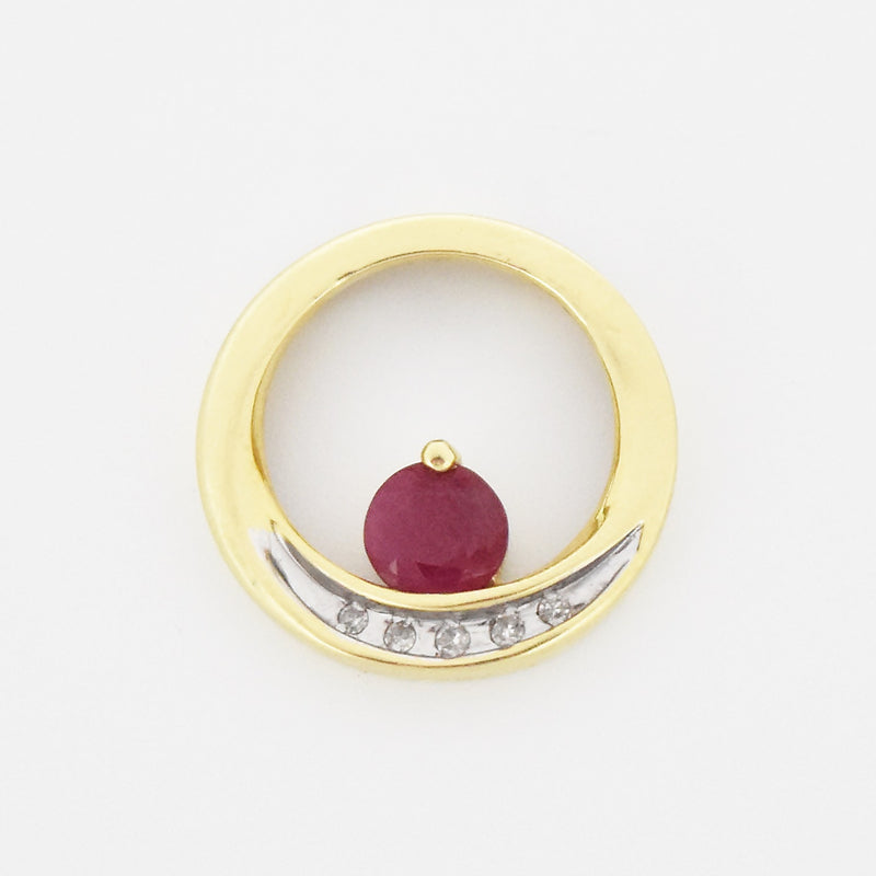 14k Yellow Gold Estate Open Circle Ruby & Diamond Ring