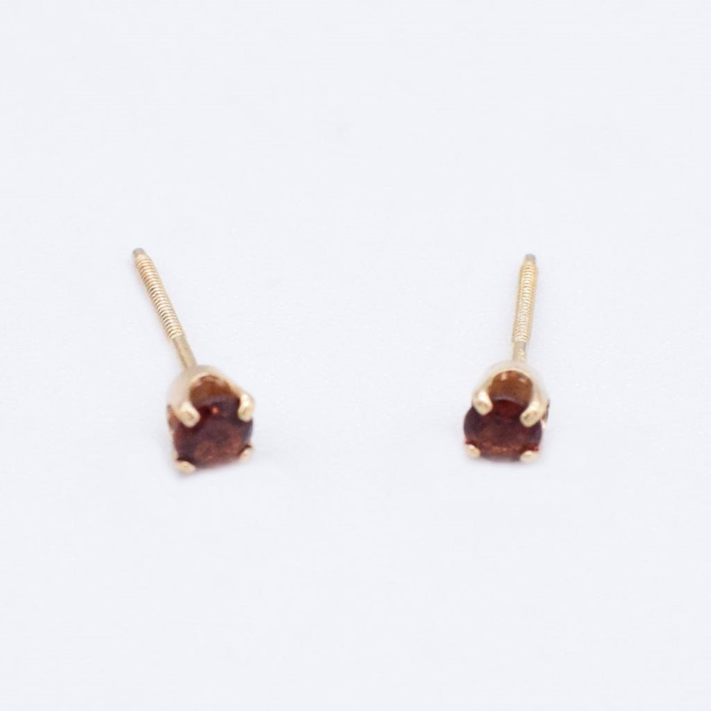 14k Yellow Gold Estate Garnet Post Earrings