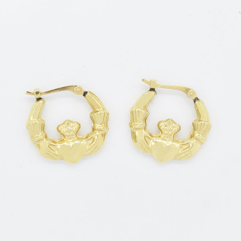 14k Yellow Gold Estate Claddaugh/Celtic Hoop Earrings