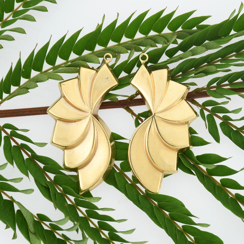 14k Yellow Gold Estate Pinwheel/Fan Shape Earring Enhancers/Jackets