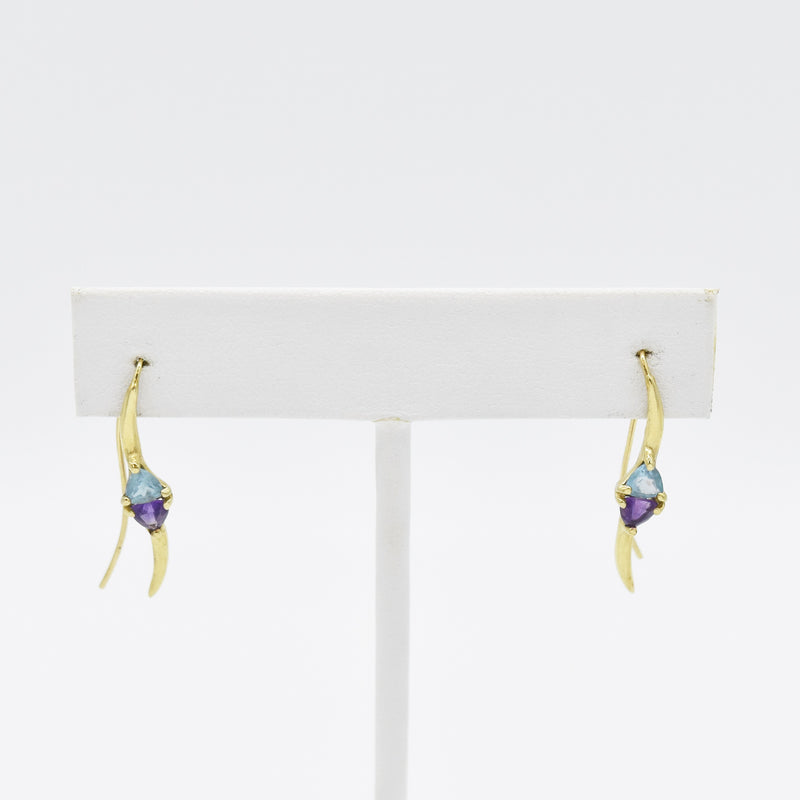 14k Yellow Gold Estate Amethyst & Topaz Wire Back Earrings