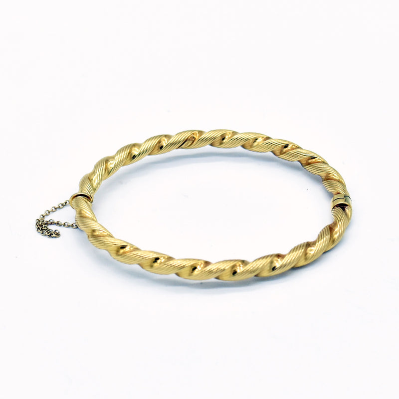 18k Yellow Gold Estate Twisted Rope Style Bangle Bracelet