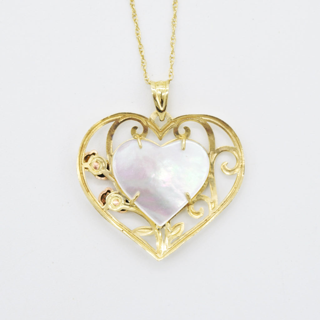 "10k Tri-Colored Gold 18"" Mother Of Pearl Filigree Heart Necklace"