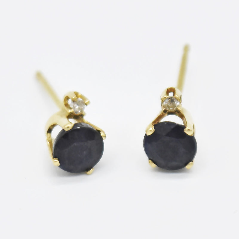 14k Yellow Gold Estate Sapphire & Diamond Post Earrings