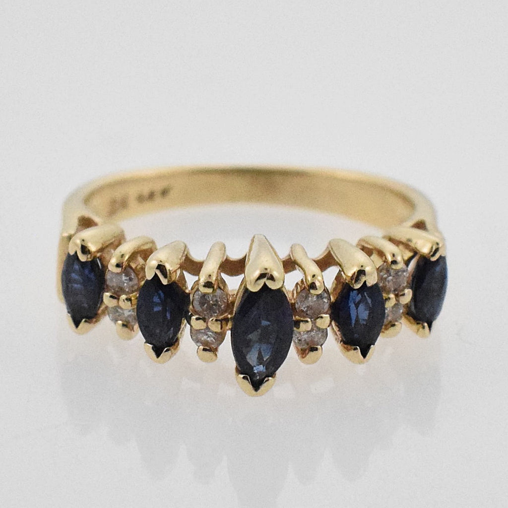 14k YG Estate Sapphire & Diamond 0.08 tcw Tier Ring Size 4.25