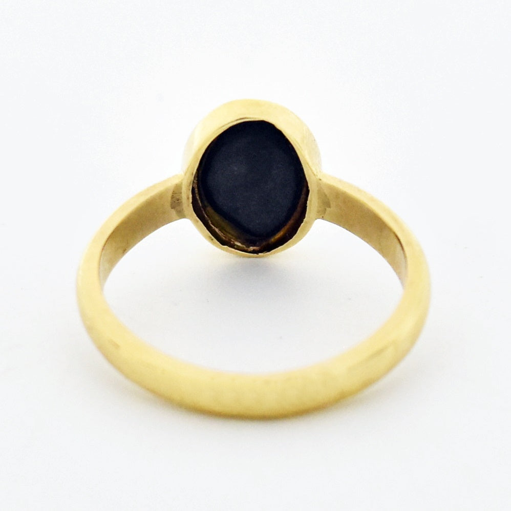 14k Yellow Gold Estate Oval Black Onyx Ring Size 8.5