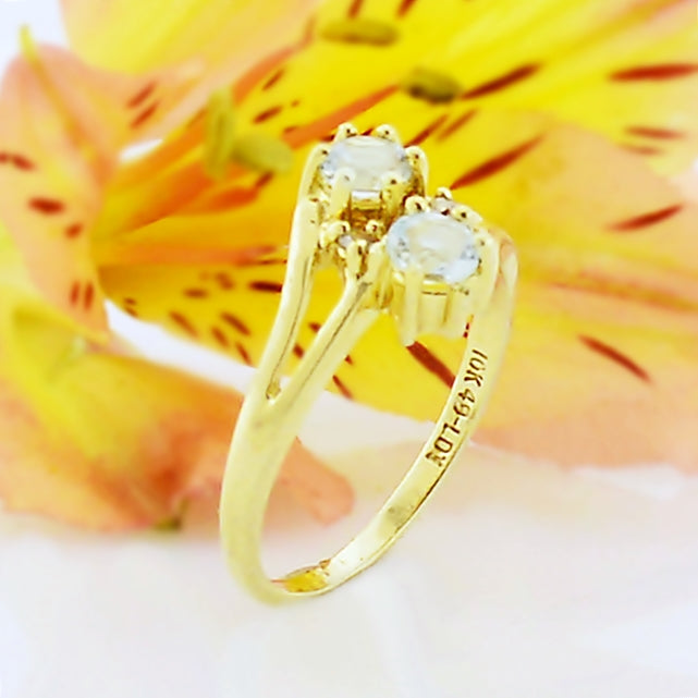 10k Yellow Gold Estate Double Aquamarine Gemstone & Diamond Ring Size 4.25