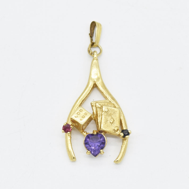 14k Yellow Gold Estate Multi Stone Lucky Wishbone Dice Cards Pendant