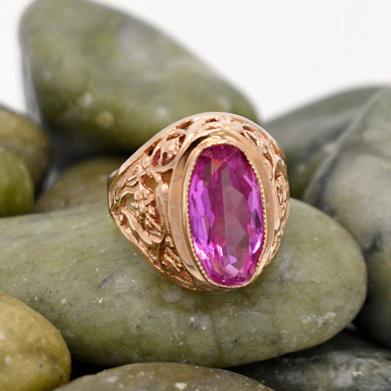 14k Rose Gold Filigree Flower Motif Pink Sapphire Ring Size 8
