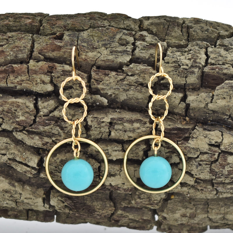 14k Yellow Gold Estate Circle Ball Turquoise Drop/Dangle Earrings