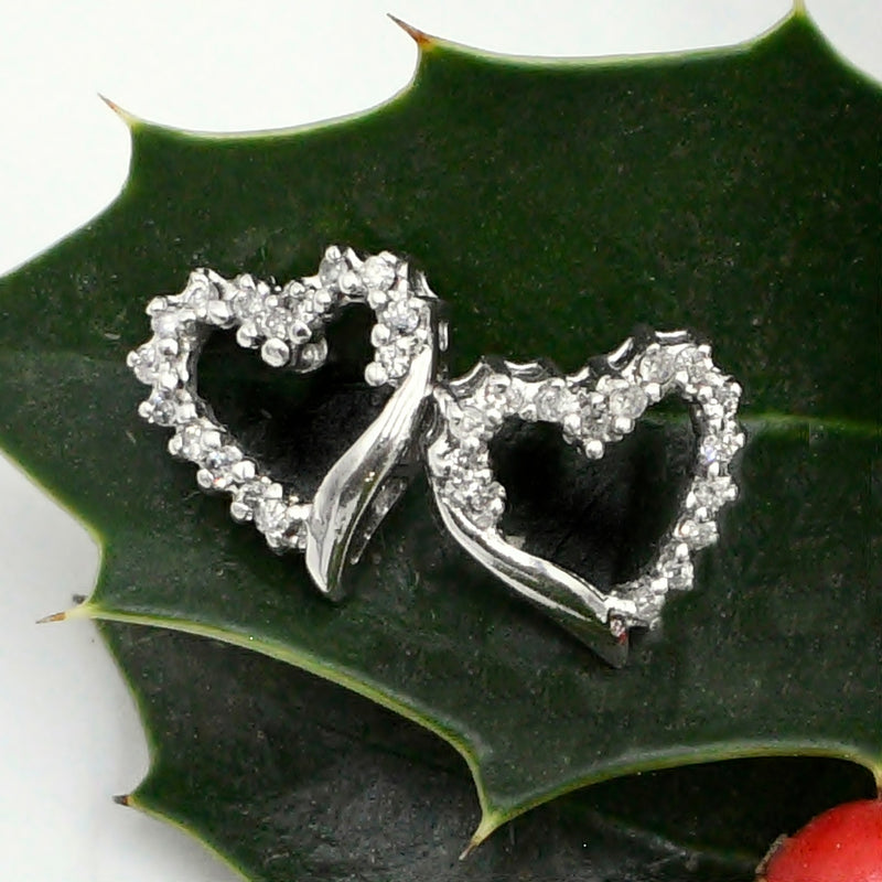 10k White Gold Estate Open Diamond .28 tcw Heart Love Post Earrings