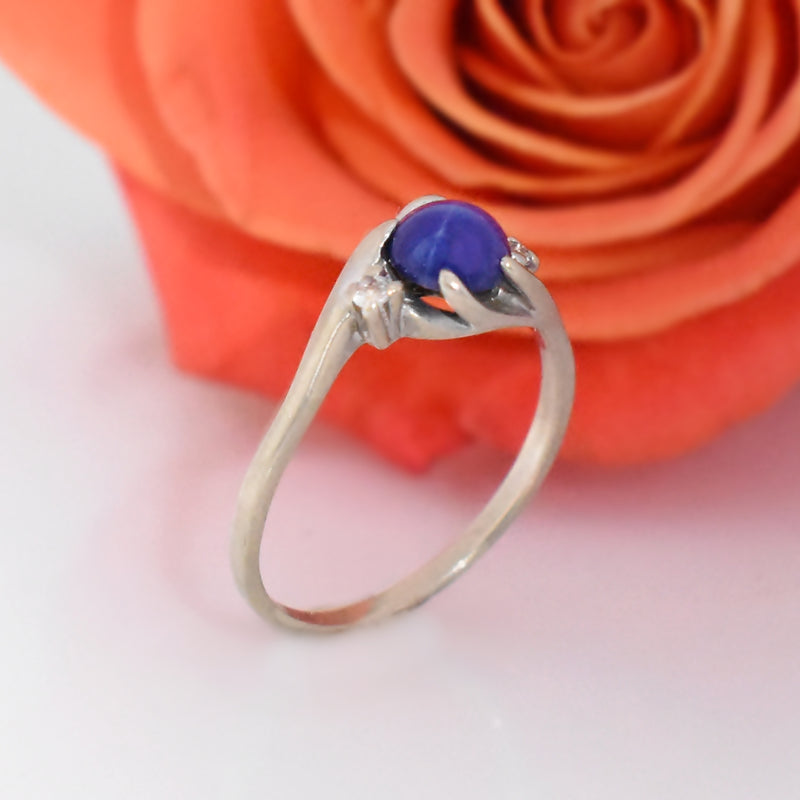 10k White Gold Vintage Star Sapphire & Diamond Ring Size 7.75