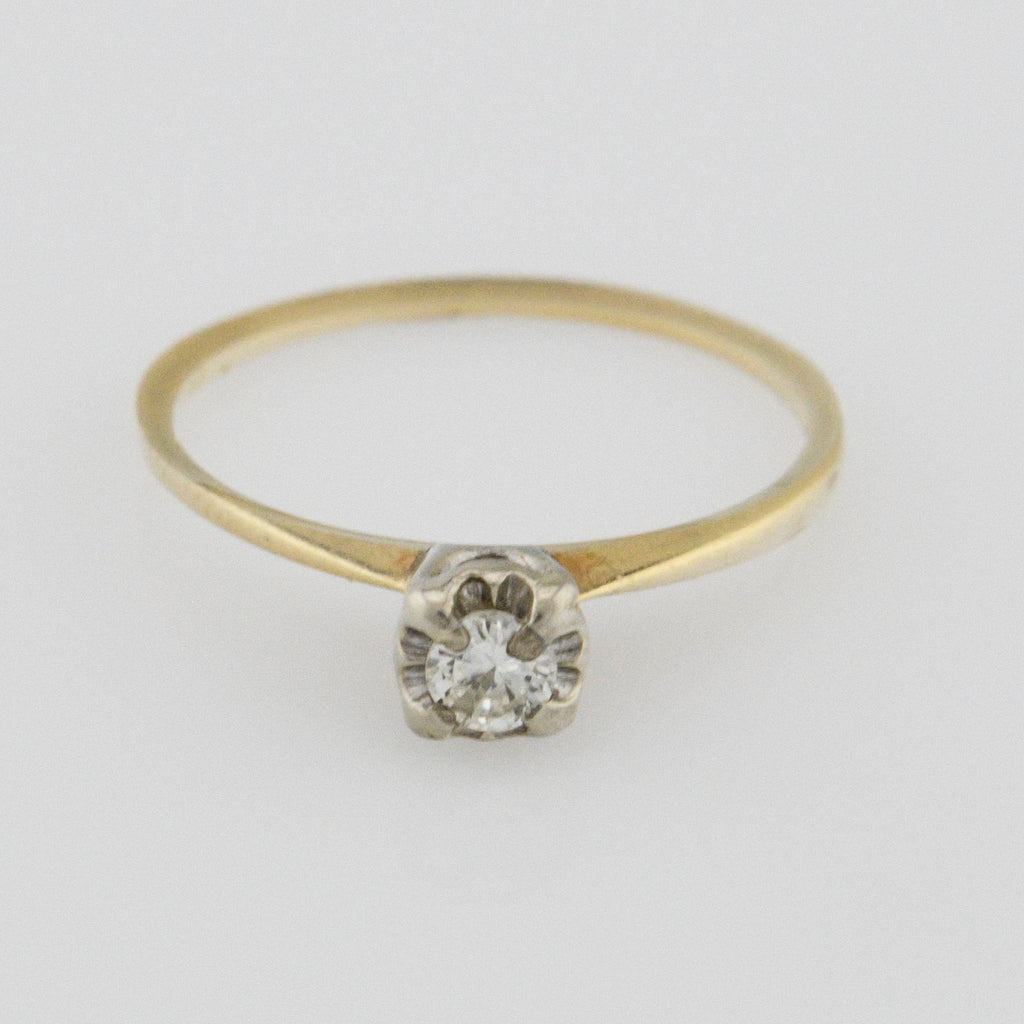 14k Yellow Gold Vintage Solitaire Diamond Engagment Ring Size 6.5