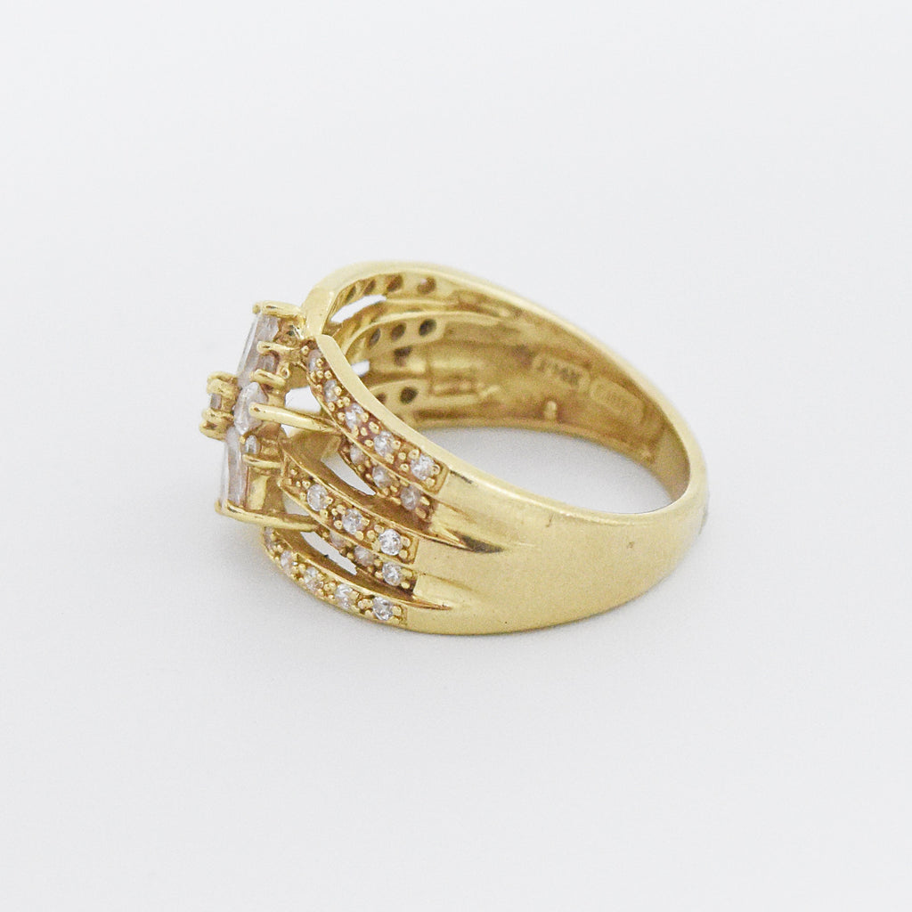 14k Yellow Gold Estate Open Band CZ Flower Ring Size 7