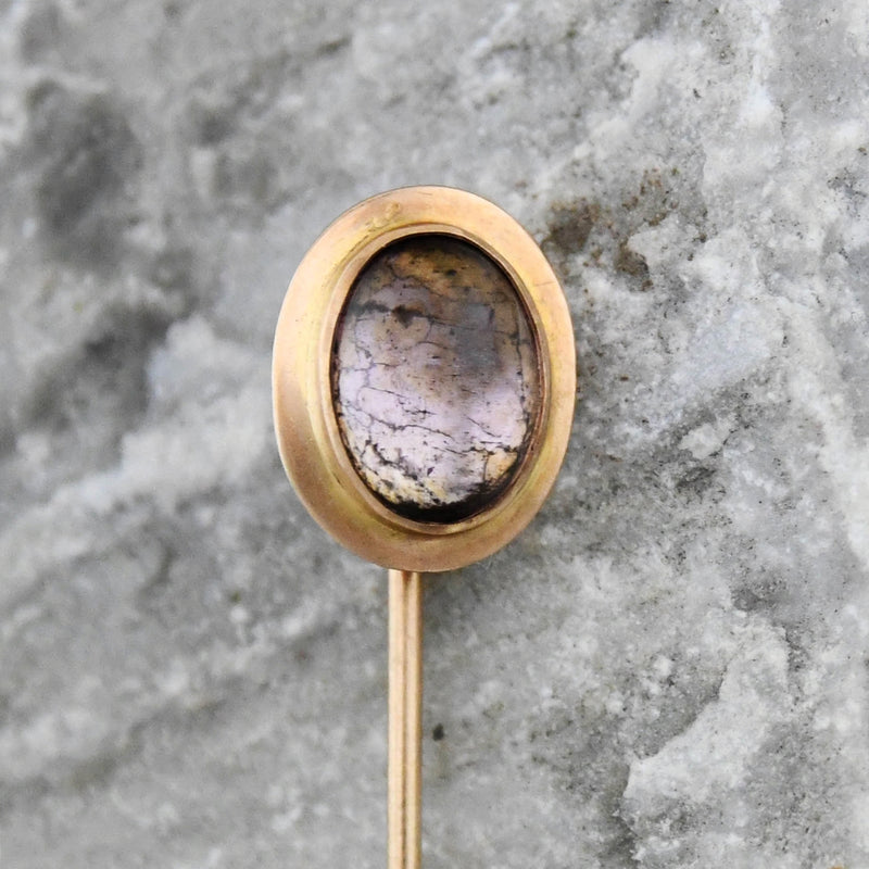 10k Yellow Gold Antique Cabochon Gemstone Stick Pin