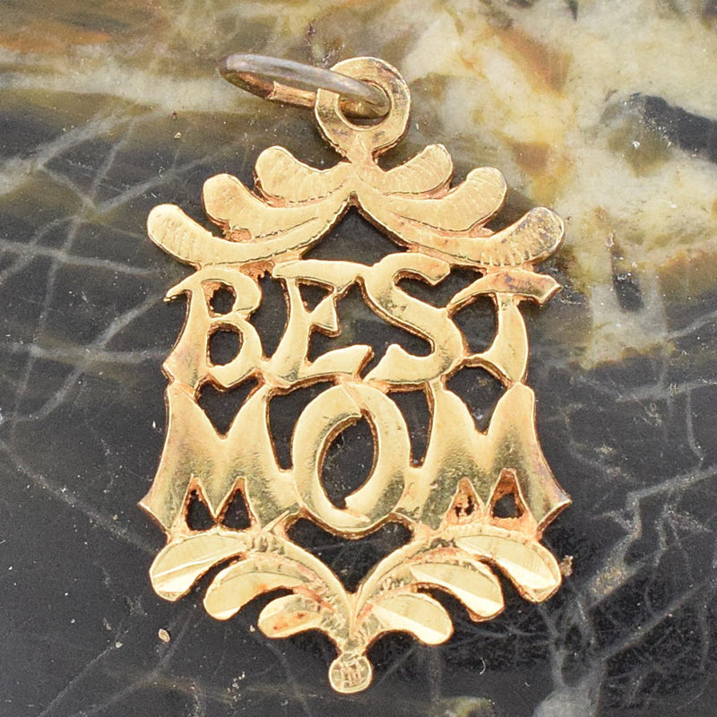 14k Yellow Gold Estate Open Work Best Mom Charm/Pendant
