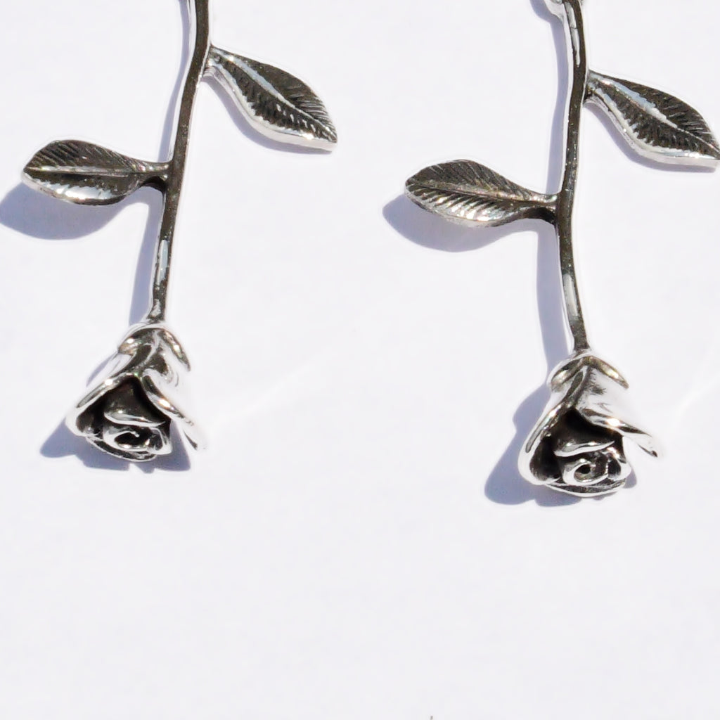 New Sterling 925 Blooming/Blossoming Rose Flower Dangle/Drop Earrings