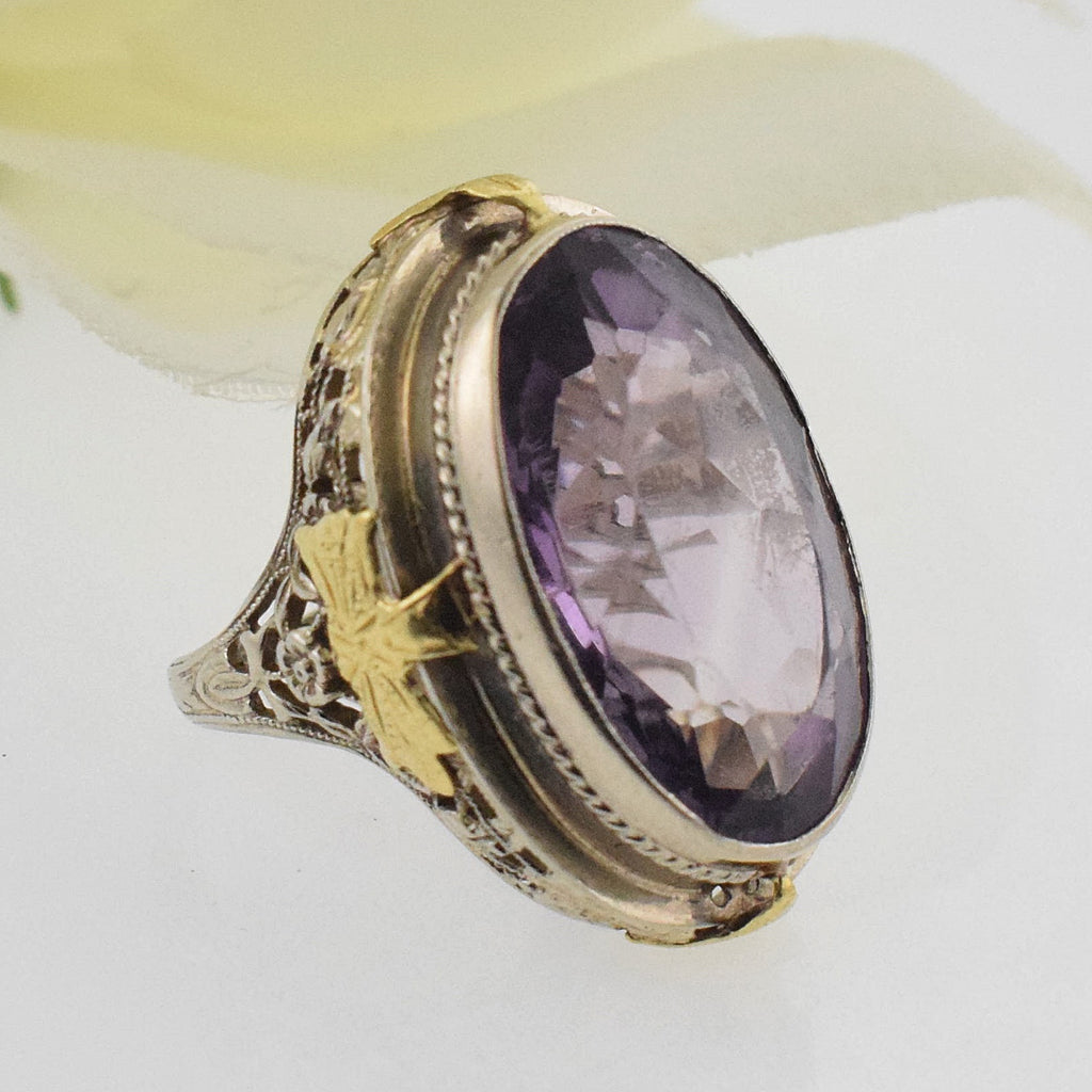 14k White & YG Antique Filagree Oval Amethyst Ring Size 5.5
