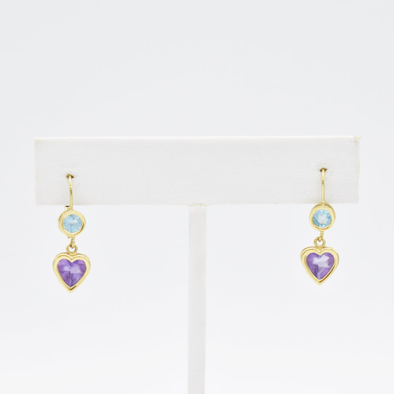 14k Yellow Gold Amethyst & Topaz Heart Drop/Dangle Lever Back Earrings