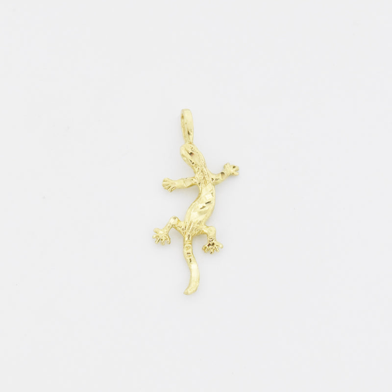 14k Yellow Gold Estate Diamond Cut Lizard Charm/Pendant