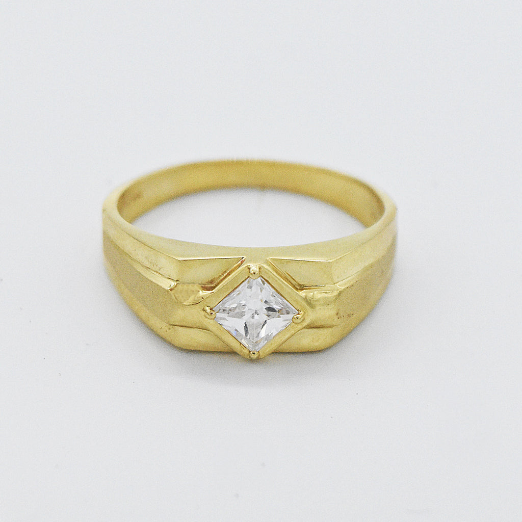 14k Yellow Gold Estate CZ Solitaire Ring Size 12